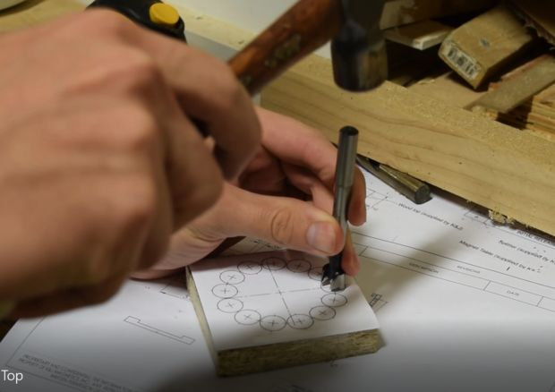 use a center punch to mark the circles