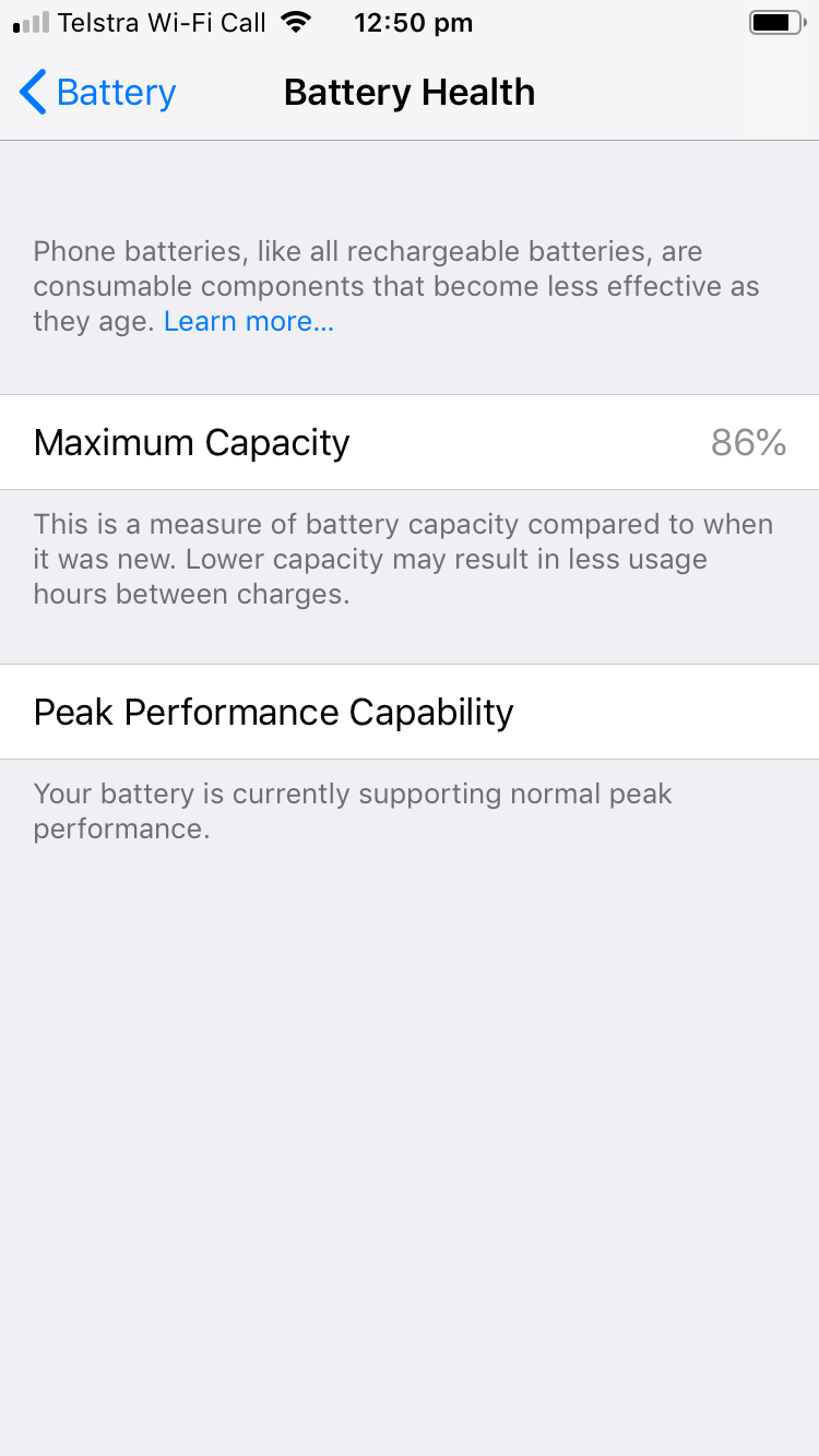 iPhone 6 Battery Health Screen