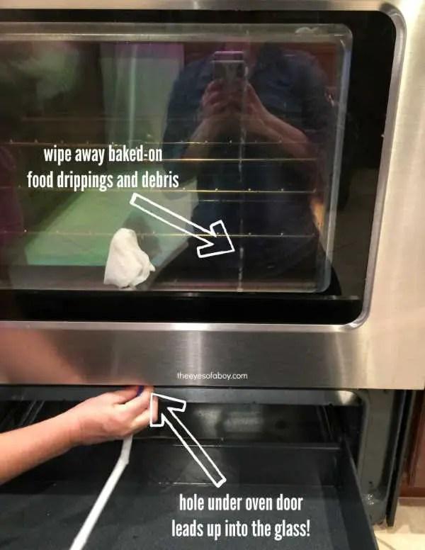 Clean between glass panels on oven door