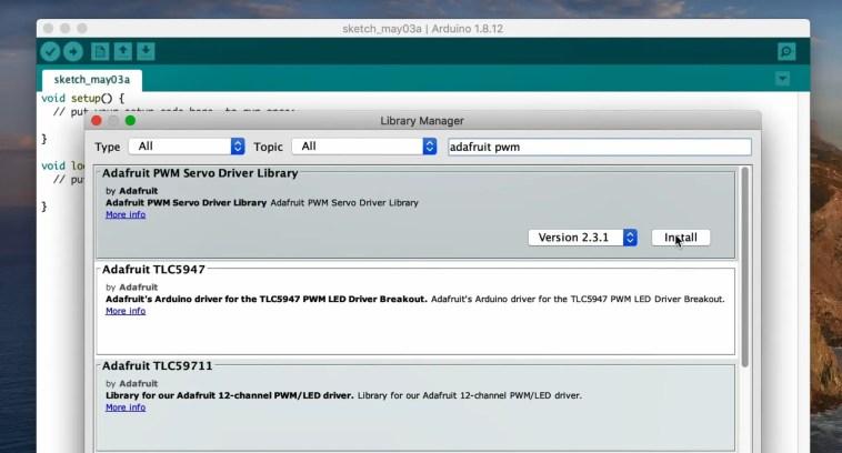 Installing The Adafruit PWM Servo Driver Library