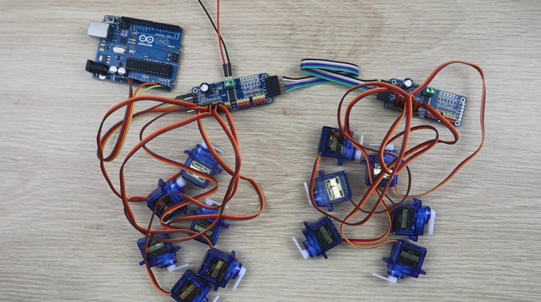 Servos Connected To 16 Channel PWM Drivers