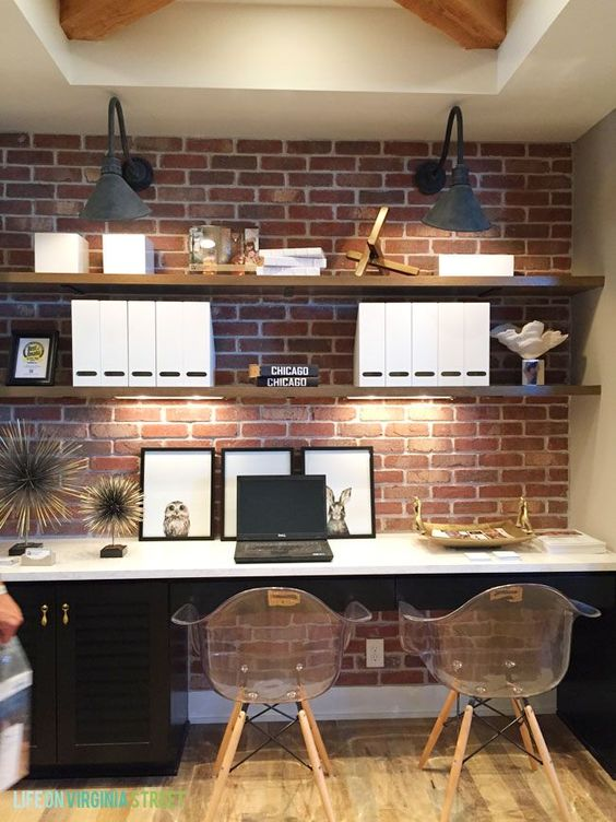 Shelving On A Brick Feature Wall
