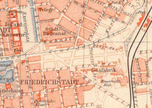 Stadtplan Düsseldorf von 1893, in dem die Gasanstalt an der Luisenstraße eingezeichnet ist