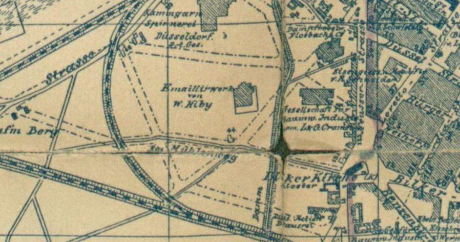 Am Mühlenweg auf einem Stadtplan von 1890