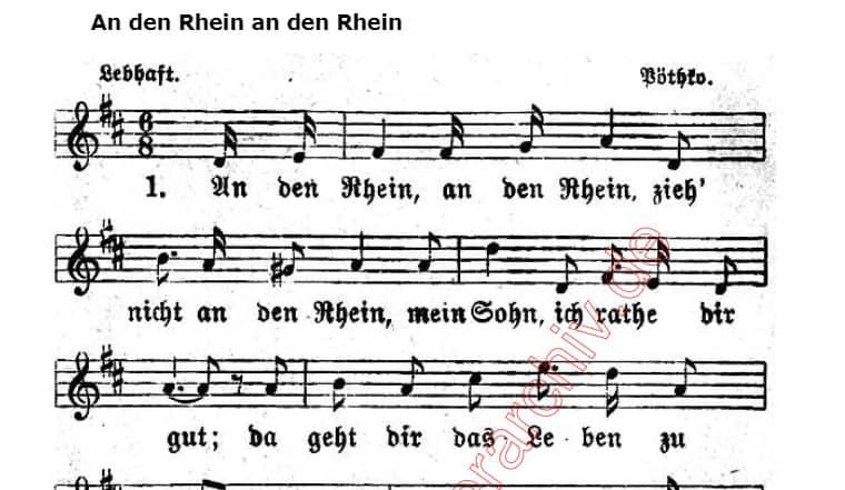Merkwürdiger Text und einfache Melodie: Warnung vor dem Rhein (Noten: volksliederarchiv. de)