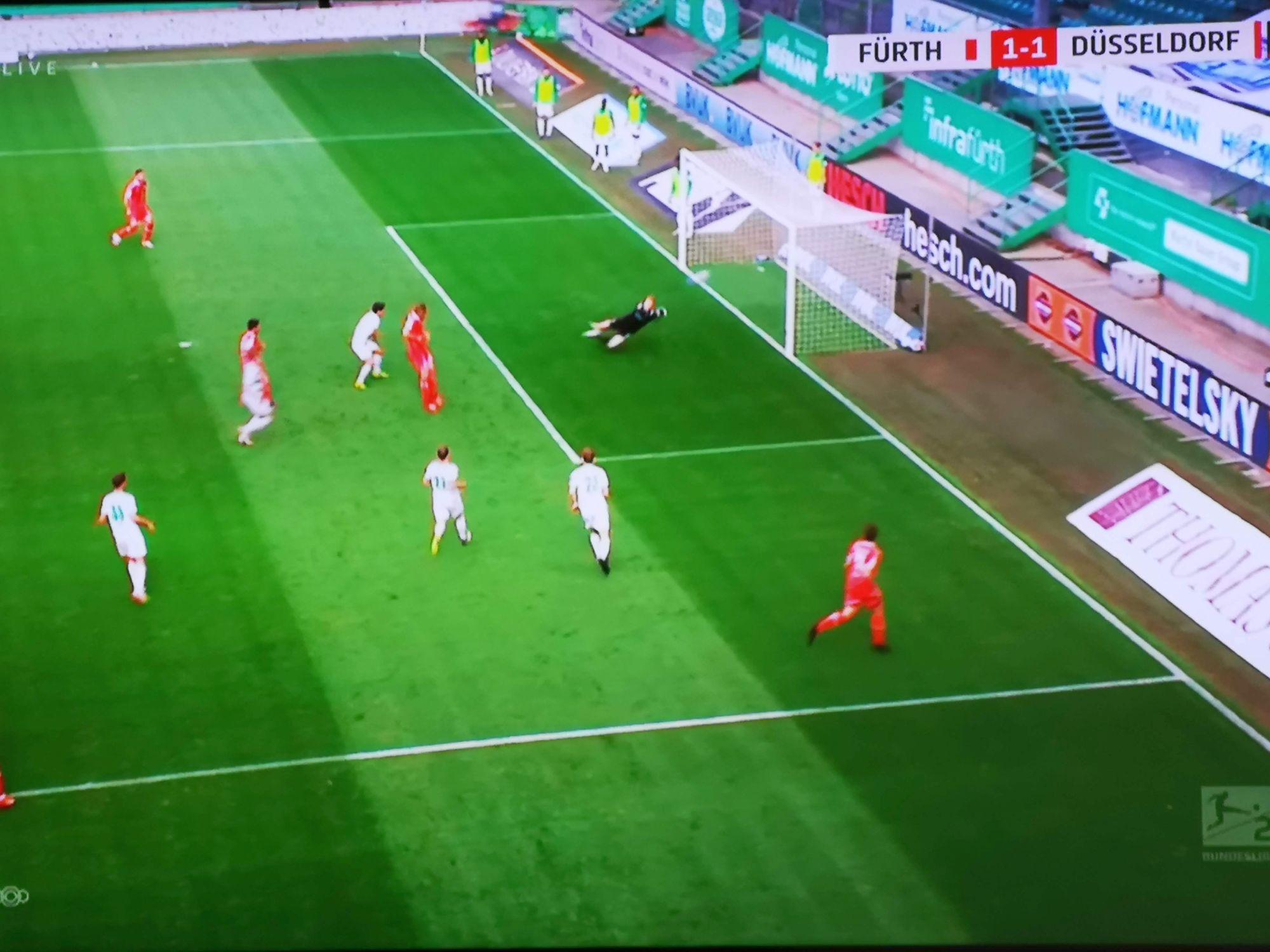 Fürth vs F95: Das feine Vorspiel zum 2:1 durch Appelkamp (Screenshot Sky)