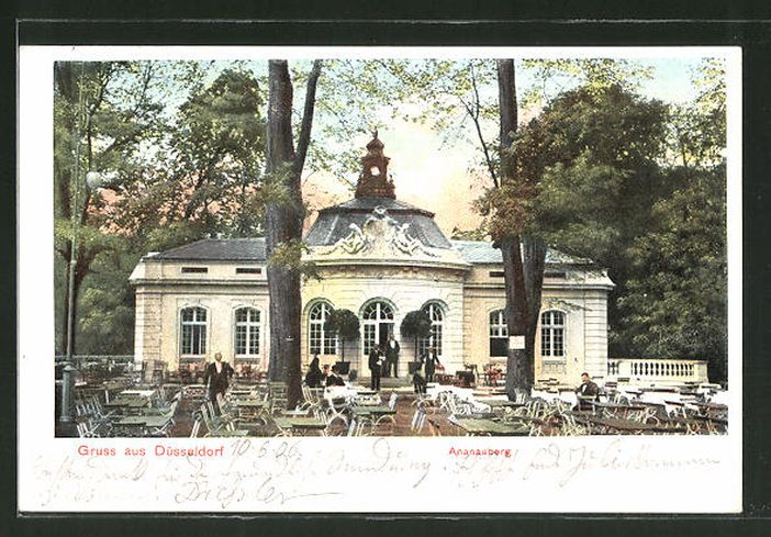 Das Gartenrestaurant auf dem Ananasberg auf einer Postkarte von ca. 1910