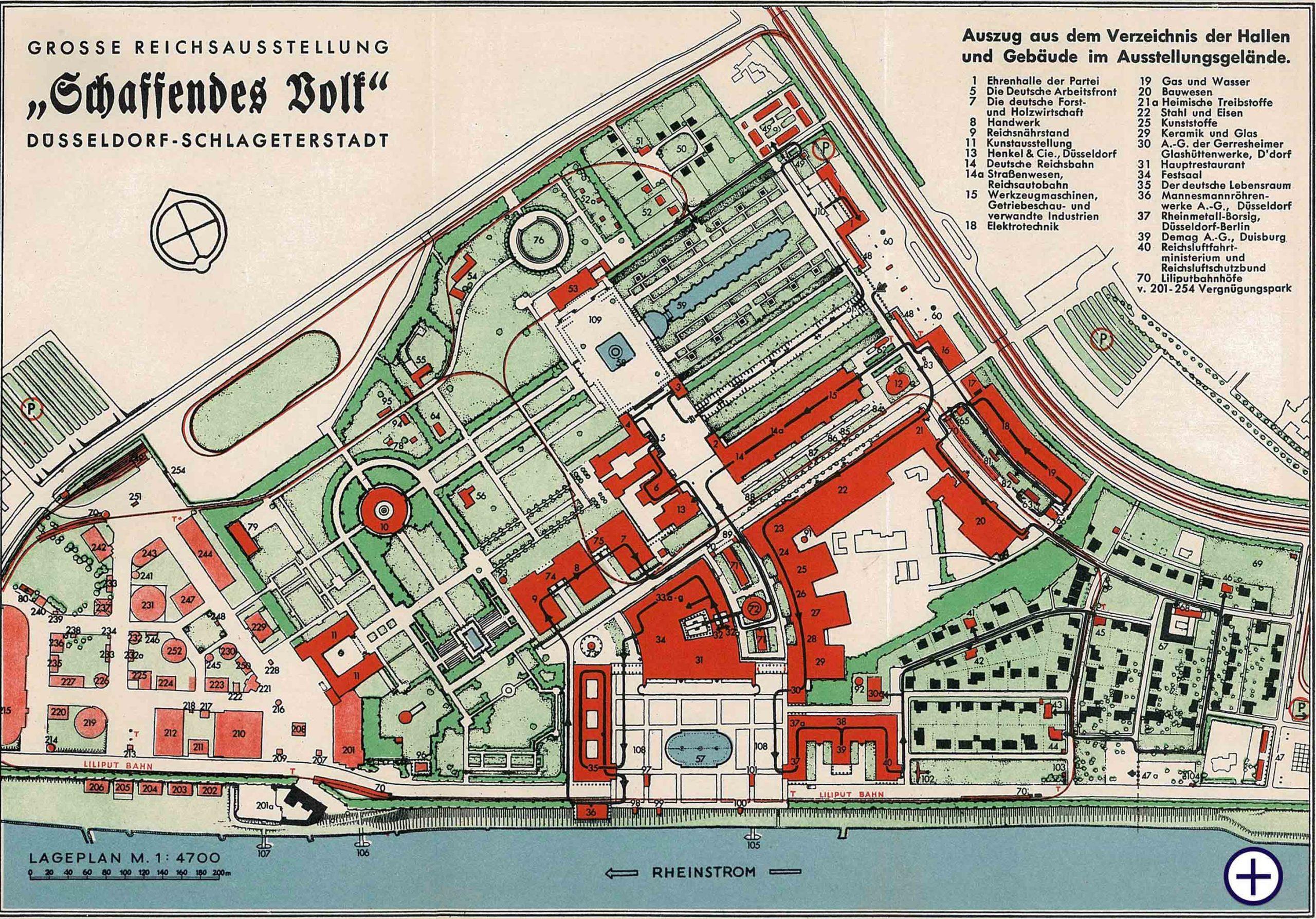 """Lageplan der Ausstellung """"Schaffendes Volk"""" von 1937"""