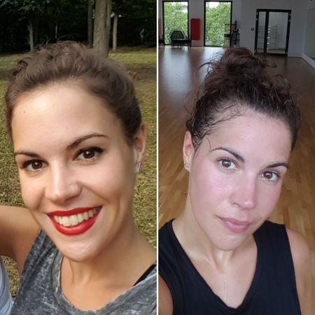 Elena ungeschminkt und mit Bühnen-Make-up