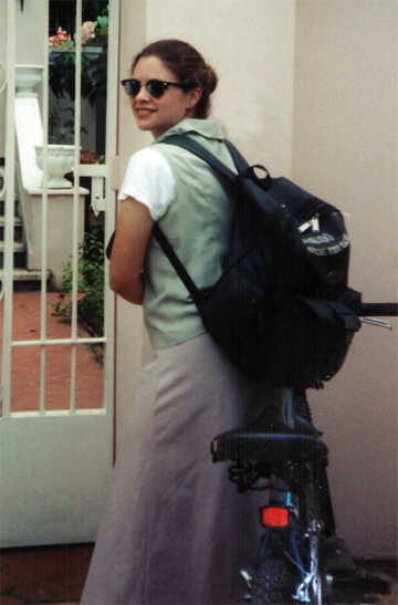 missionary biking in a skirt