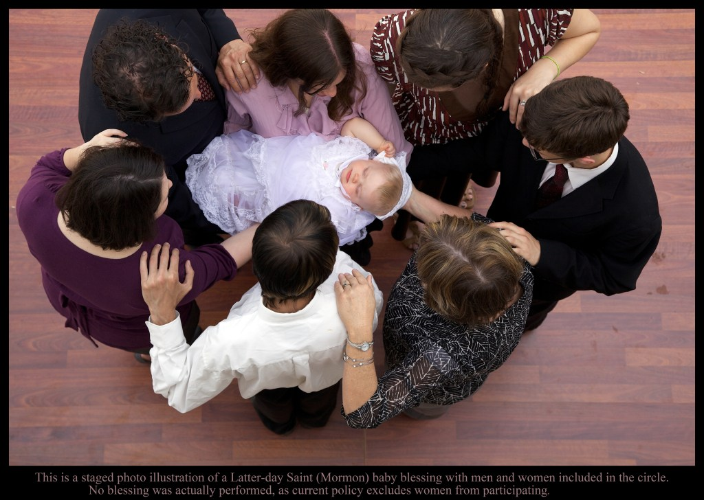 Staged LDS (Mormon) Baby Blessing with Men and Women in the Circle