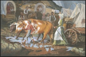 Mary Fielding Smith and Joseph F. Smith Crossing the Plains (Gospel Art Book [2009], no. 101)