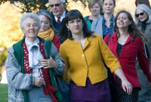 Ordain Women supporters walk to the priesthood session