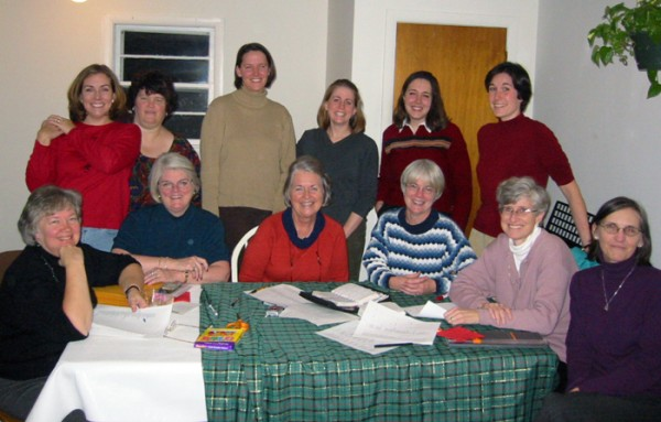 Exponent II Board Meeting December 2003 L-R back row: Heather Sundahl, Evelyn Harvill, Kimberly Burnett, Emily Clyde Curtis, Aimee Hickman, Michelle Martin Front row: Nancy Dredge, Barbara Taylor, Judy Dushku, Cheryl Howard DiVito, Robin Zenger Baker, Karen Call Haglund)
