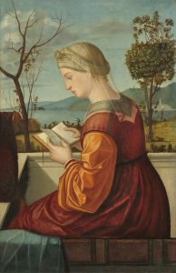 Vittore Carpaccio (Venetian, c. 1465 - 1525/1526 ), The Virgin Reading, c. 1505, oil on panel transferred to canvas, Samuel H. Kress Collection 1939.1.354