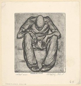 LeRoy Walter Flint (American, Ashtabula, Ohio 1909–1991 Akron, Ohio) Sad Man, 1935–43 American, Carborundum Etching; plate: 4 1/2 x 4 in. (11.5 x 10 cm) sheet: 6 1/4 x 5 3/4 in. (16 x 14.5 cm) The Metropolitan Museum of Art, New York, Gift of the Work Projects Administration, Board of Education, Cleveland, Ohio, 1943 (43.29.3) http://www.metmuseum.org/Collections/search-the-collections/374686