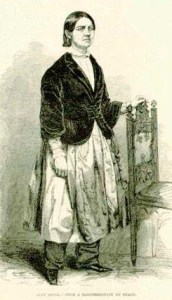 Lucy Stone wearing bloomers in 1853, when she participated in the dress reform movement.
