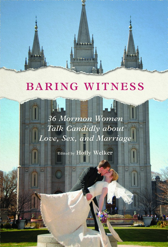 book cover, shows a wedding couple kissing in front of the Salt Lake City temple