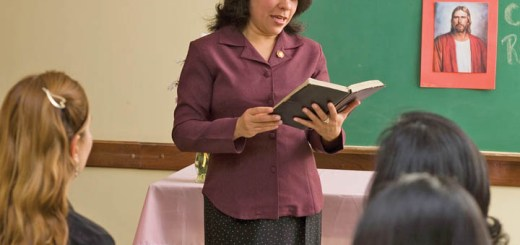 LDS woman teaching a class