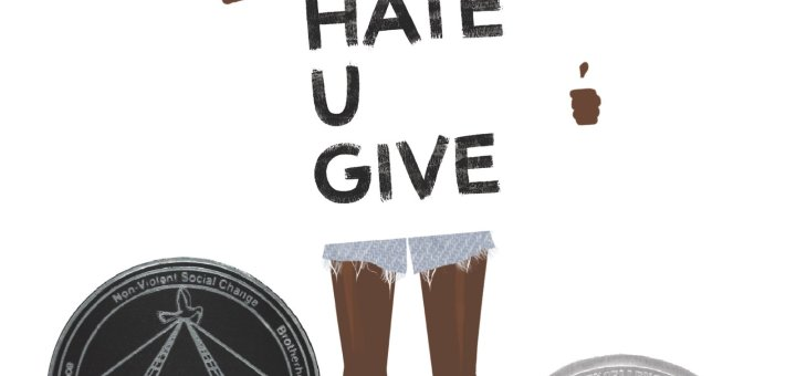 Cover of the book The Hate U Give with an artist's rendering of a teenage girl with a red headband holding a protest sign with the book's title