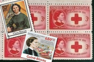 American and Guinea stamps honoring Clara Barton