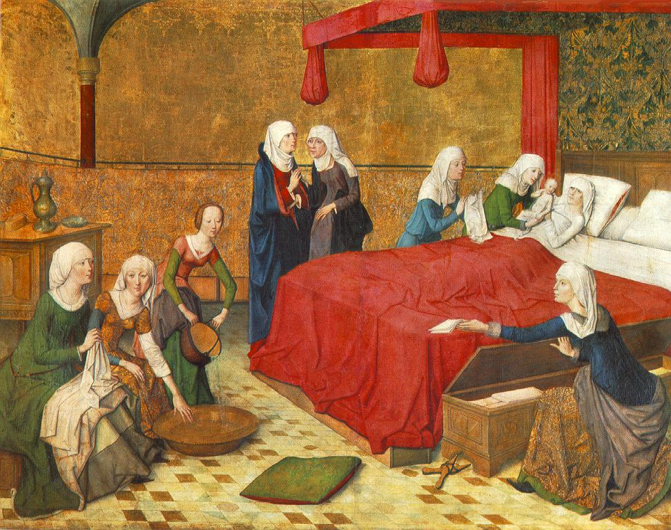 Painting of the birth of Mary