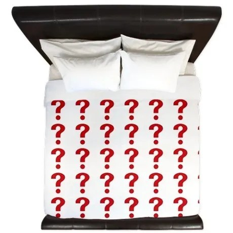 Question Markl pattern Red on white King Duvet by Admin_CP25902984 © Admin_CP25902984 | cafepress.com