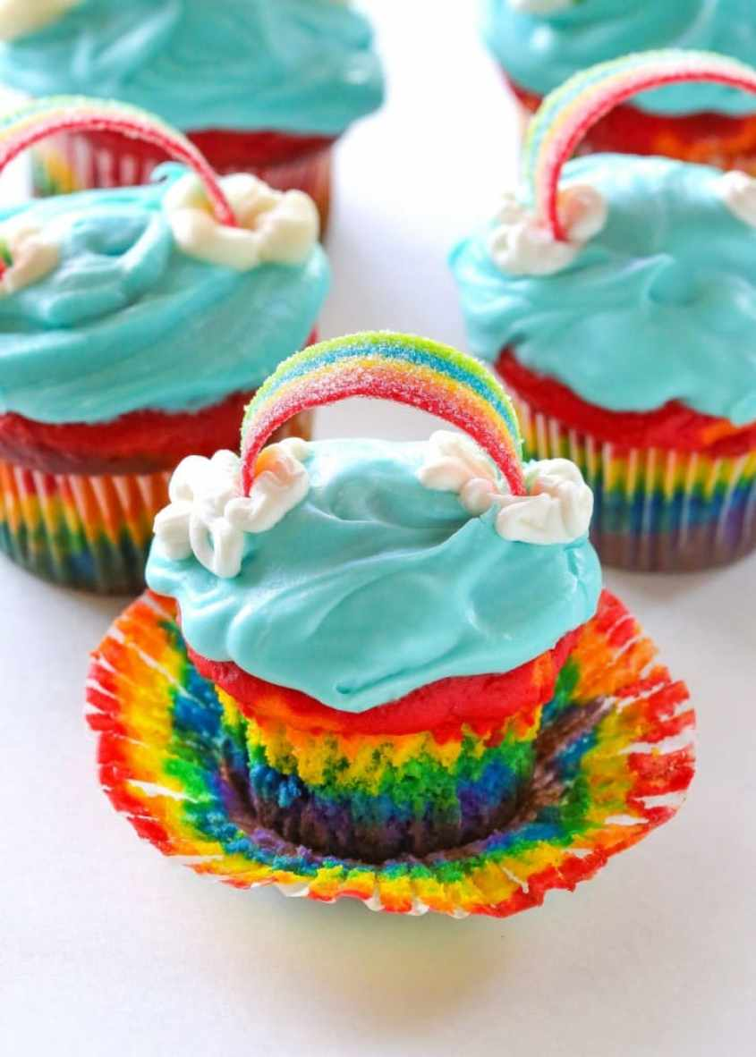 Rainbow Cupcakes - Gorgeous layers of the rainbow in a cupcake. the-girl-who-ate-everything.com