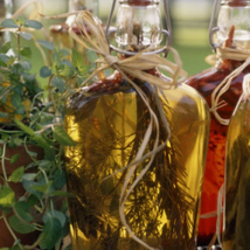 Herbal remedies and tinctures in decorative bottles