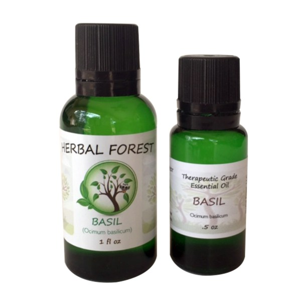 image of Herbal Forest basil essential oil 1 oz and .5 oz