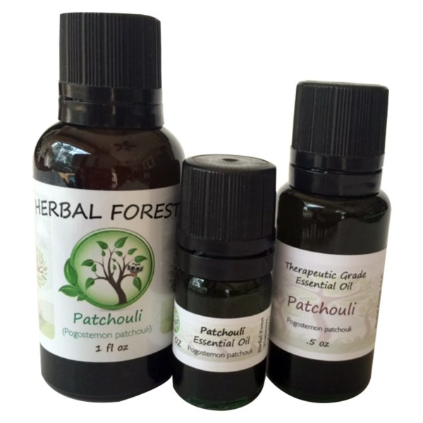 image of Herbal Forest patchouli essential oil 1 oz, .5 oz and .17 oz