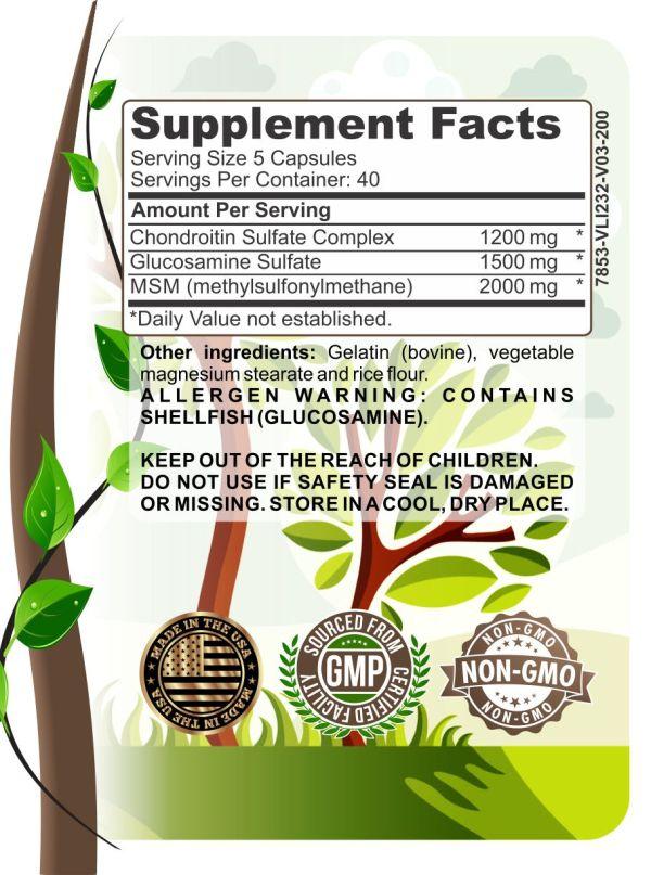 image of herbal forest premium glucosamine complex ingredients