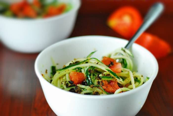 Low Carb Cucumber Pasta Salad - Healthy cucumber salad perfect as a spring or summer side or appetizer on a low carb diet.