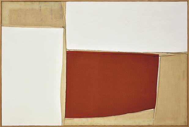 Nuvolo, Senza titolo, 1958, stoffa cucita e pittura, 100x150, Pinacoteca Comunale di Città di Castello