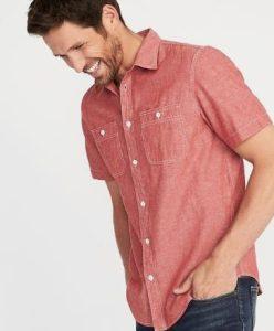 κόκκινο αντρικό πουκάμισο με ύφασμα chambray