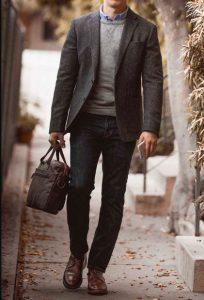 γκρι σακάκι σκούρο μπλε παντελόνι καθημερινά outfits κομψός