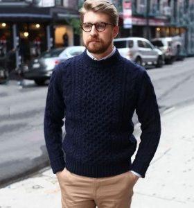 μπλε πλεκτό άσπρο πουκάμισο μπεζ παντελόνι καθημερινά outfits κομψός