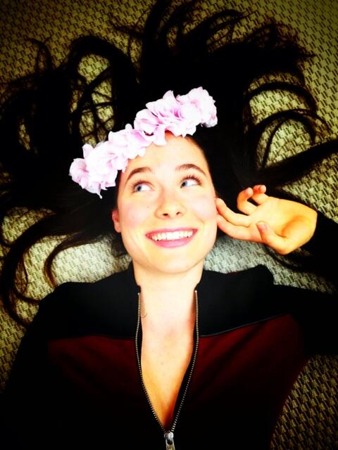 Caroline Dhavernas in a floral crown