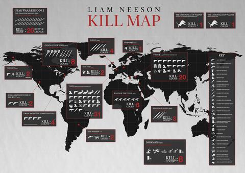 The Liam Neeson Kill Map