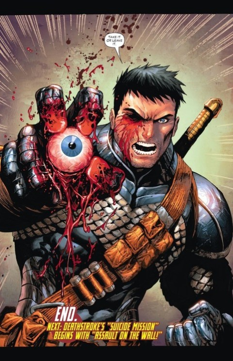 Deathstroke rips out his own eye