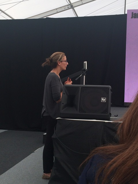 Philippa Gregory live-streaming herself using her iPhone