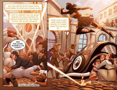 Wonder Woman leaps a car