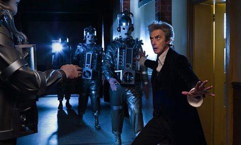 Peter Capaldi with Mondasian Cybermen
