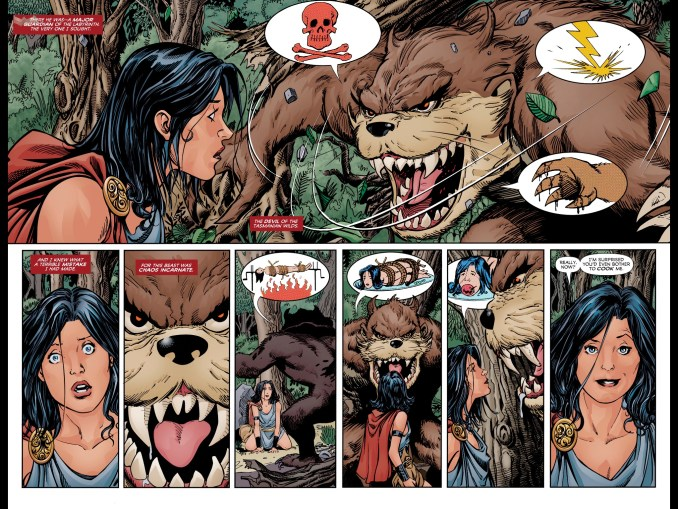 Diana meets The Tasmanian Devil for the first time