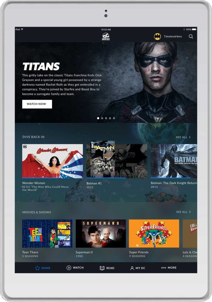DC Universe home screen
