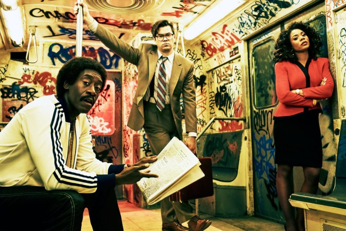 Don Cheadle as Mo, Andrew Rannells as Blair and Regina Hall as Dawn in Black Monday