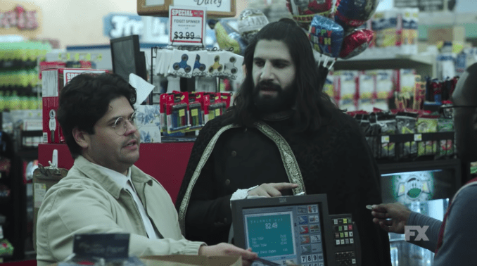 Harvey Guillen and Kayvan Novak in FX (US)'s What We Do In The Shadows