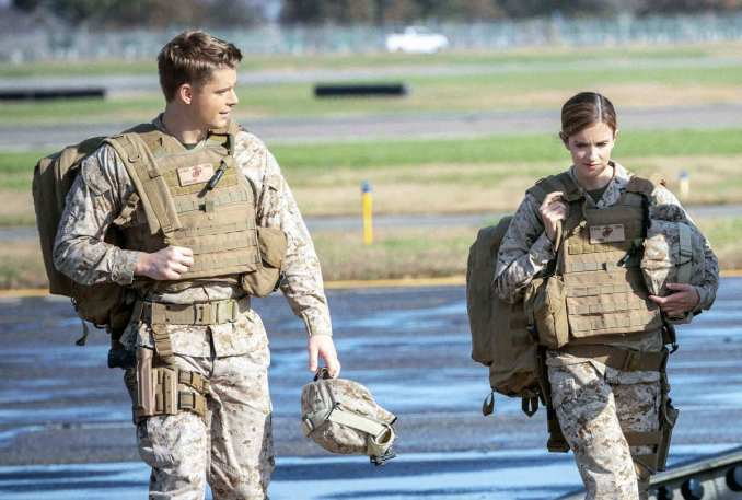 Luke Mitchell and Anna Wood in CBS's The Code