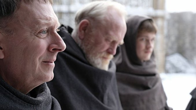 Michael Emerson, James Cosmo and Damian Hurdung in Rai 1's The Name of the Rose