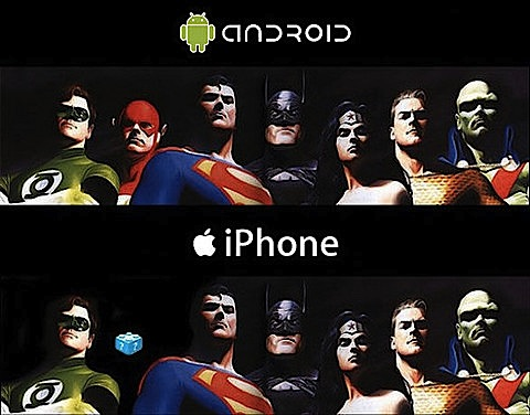 iPhone v Android for Justice League